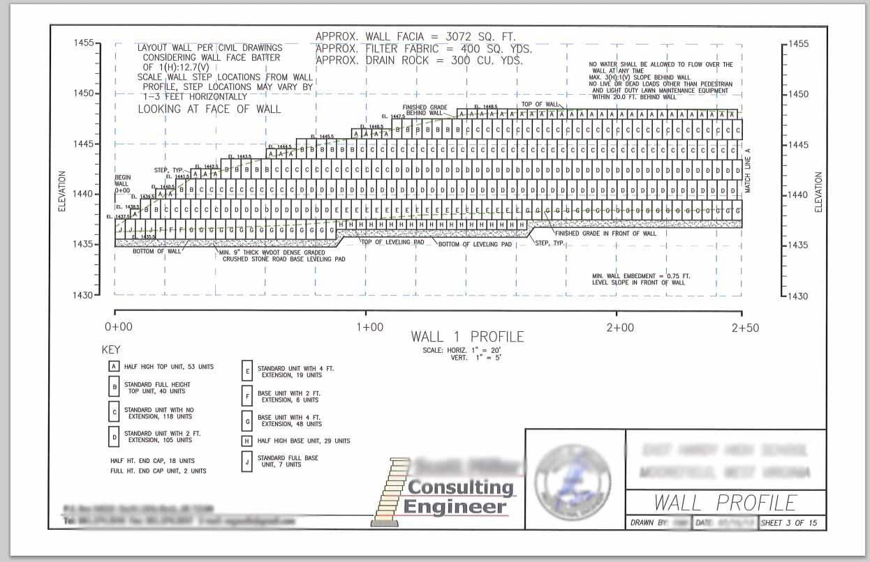 engineer plan drawing for block retaining wall design