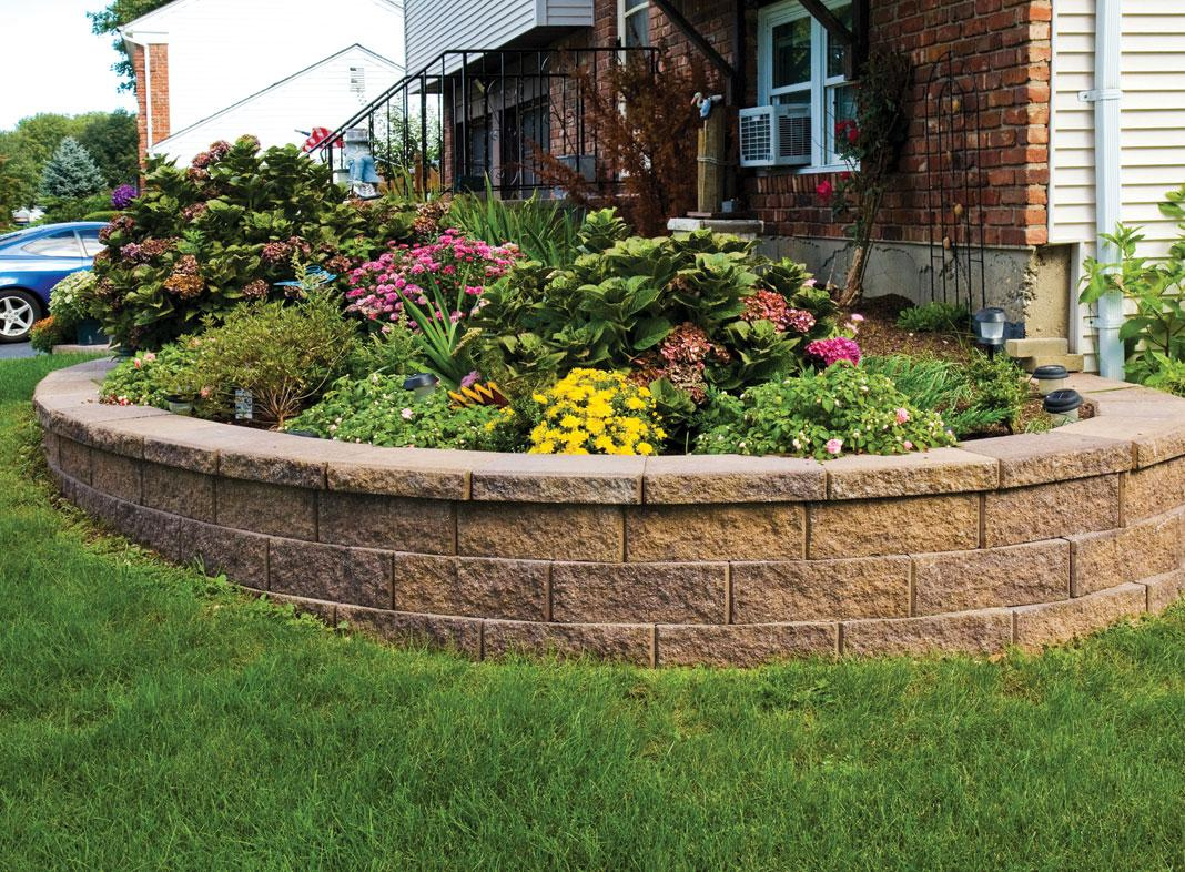 Curved MiraStone Retaining Wall planter