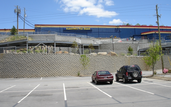 Fun Depot - Asheville North Carolina cornerstone retaining walls in parking lot