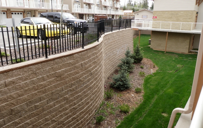 CornerStone retaining wall with parking on top