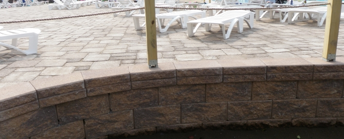 CornerStone retaining wall with paving stones