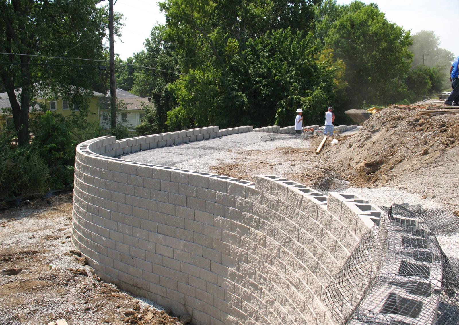 CornerStone retaining wall installation with geogrid