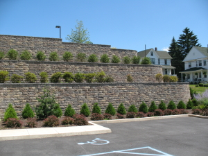 StoneLedge Retaining wall with parking lot