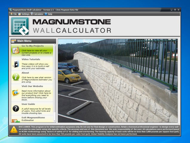 MagnumStone retaining wall estimator screen capture