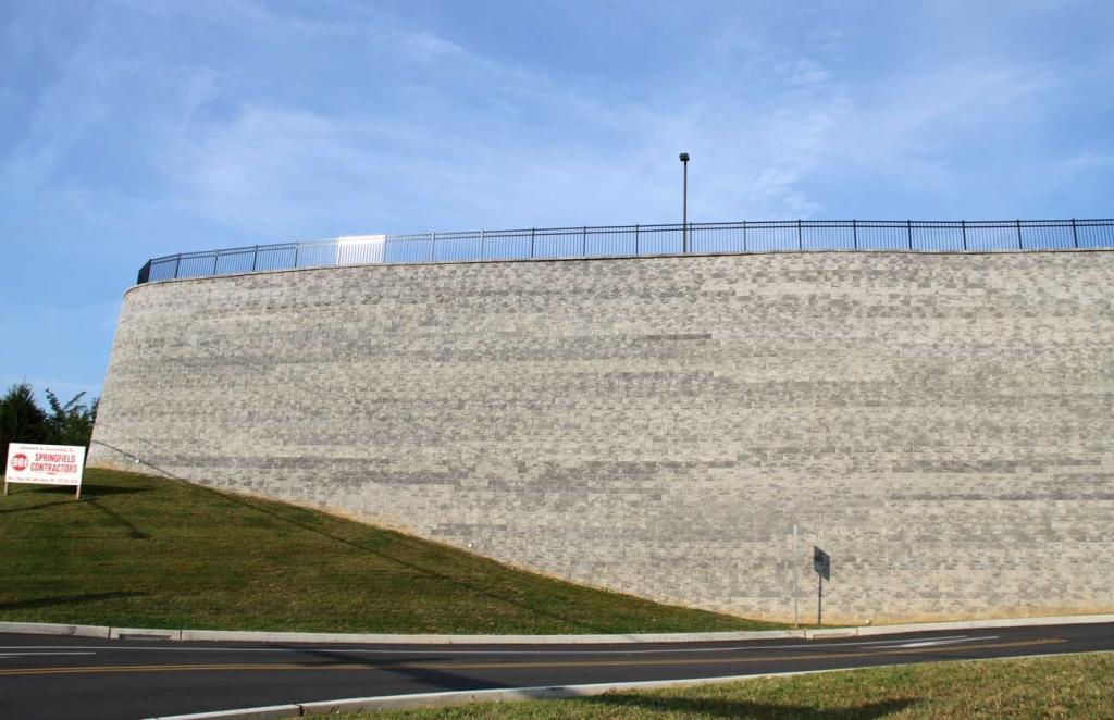 Shrewsbury CornerStone Block Retaining wall with maximum heights of 39' (12m)