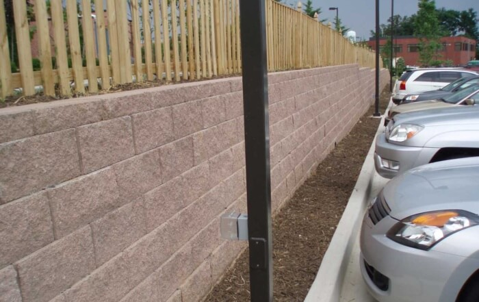 CornerStone block retaining wall Hilton Garden Inn parking lot