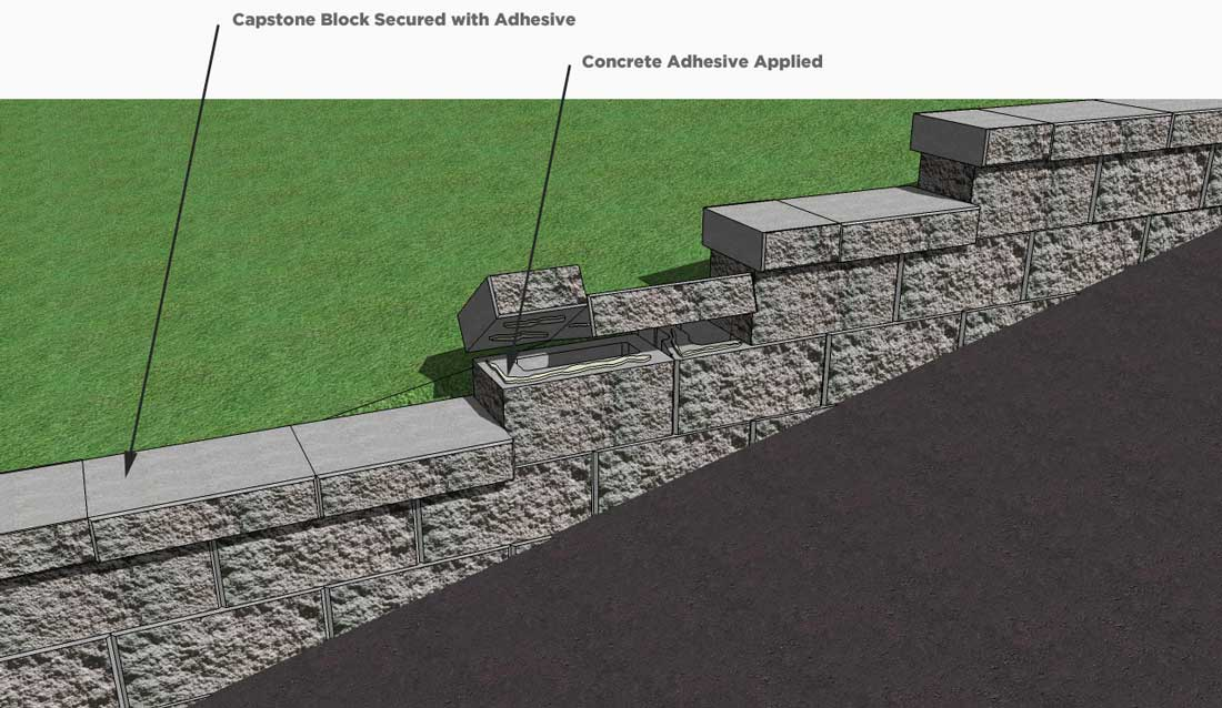 CornerStone Retaining Wall Block Caping Installation on Base Elevation Change
