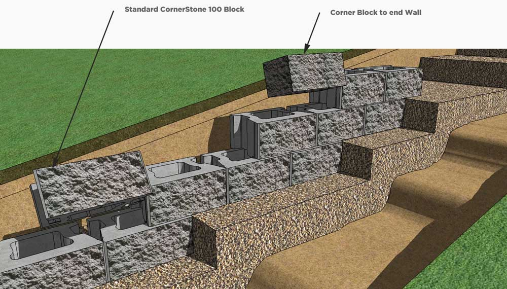 CornerStone Retaining Wall block installation base elevation change