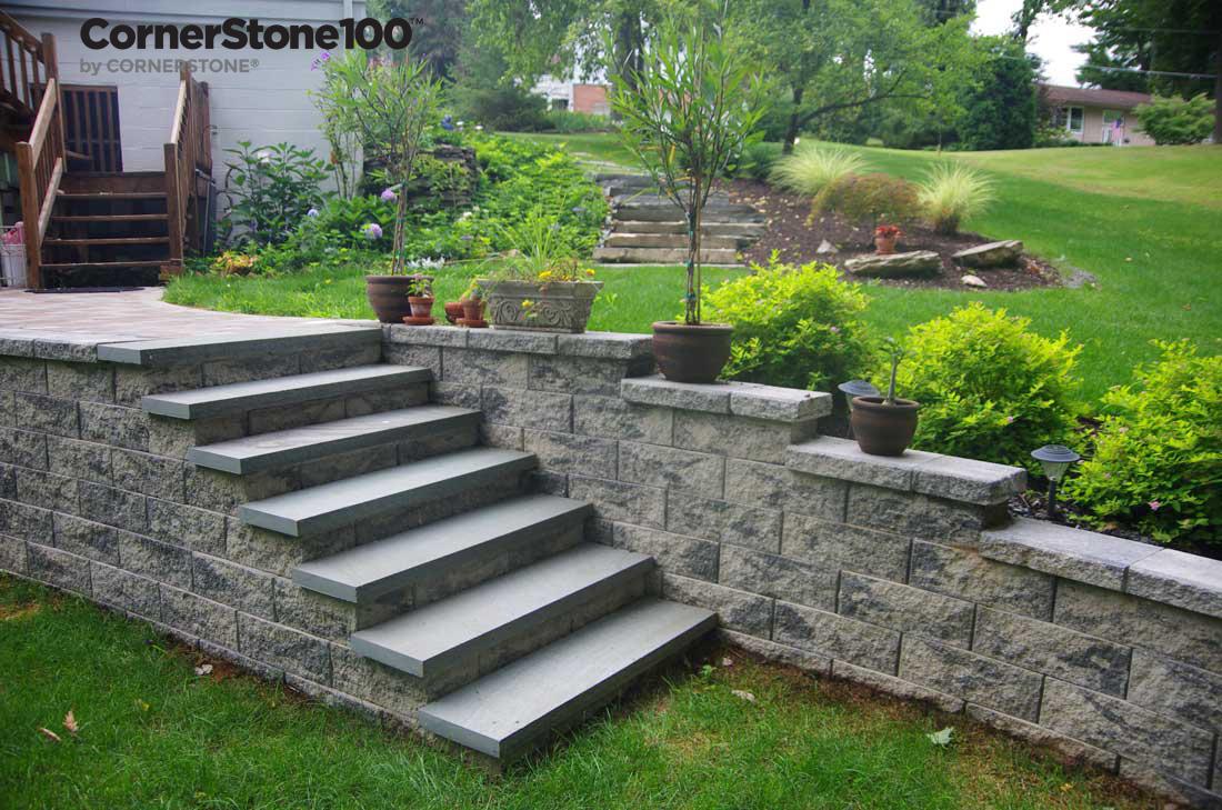 Landscape Stairs Using Cornerstone Retaining Wall Block