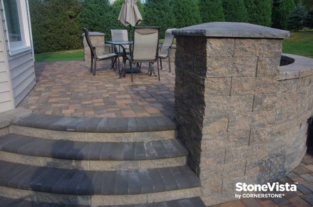 Pillars using StoneVista retaining wall