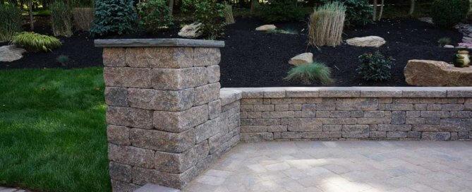 pillar with retaining wall