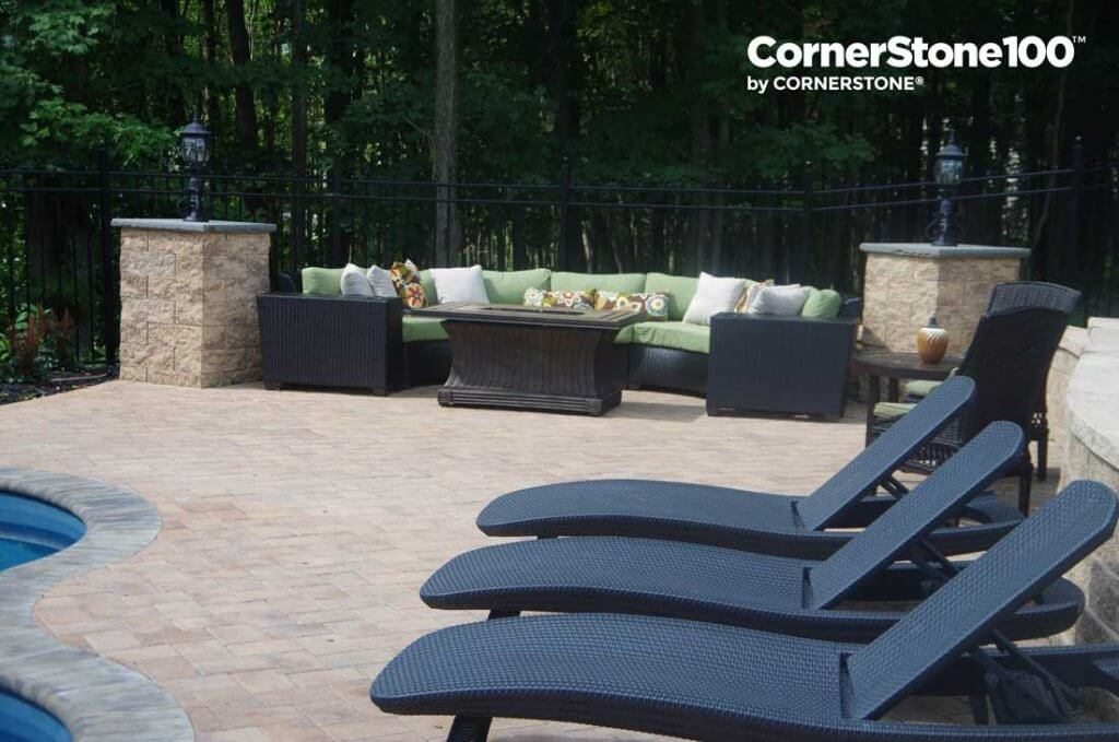 Cornerstone pillars to accent pool and landscaping
