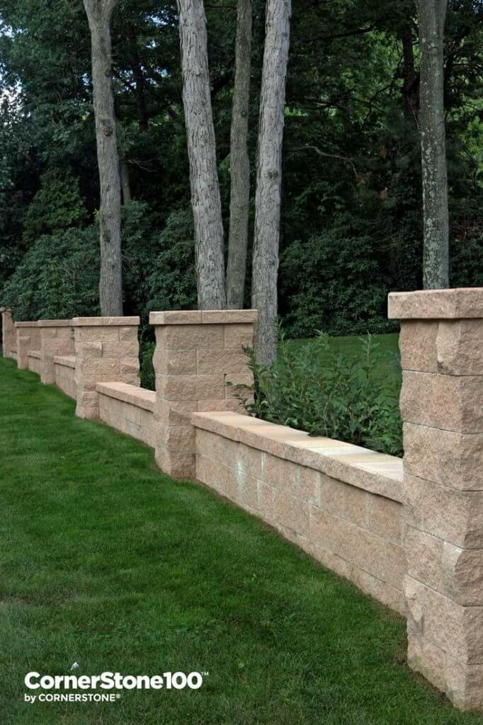pillars with shrubs