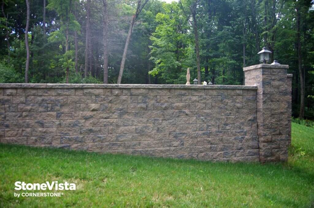 large pillar with retaining wall