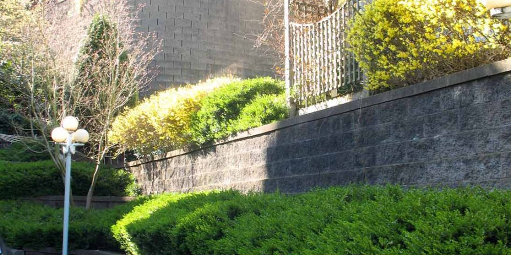 Terraces and curves within retaining wall design
