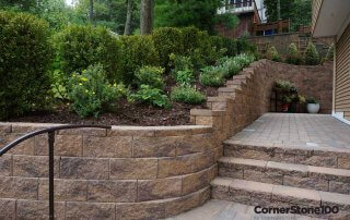 Retaining-Wall-blocks-with curves and stairs and landscaping in-Cincinnati-Ohio