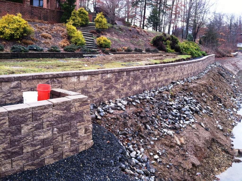 Waterfront Retaining Wall Construction with Dock