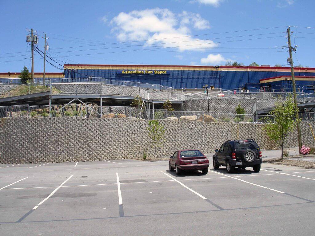 CornerStone Retaining Walls at Fun Depot, Asheville, NC