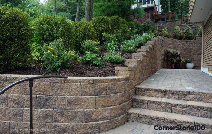 Backyard Landscape Stairs and Retaining Wall