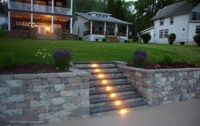 Backyard Retaining Wall Stair Lights