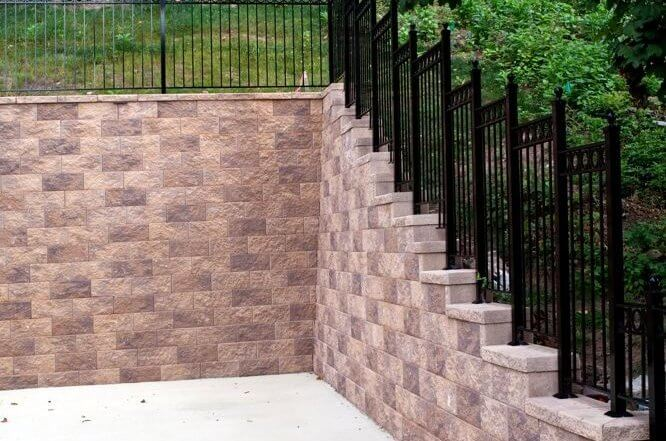 Backyard Retaining Wall with Fence Post In System