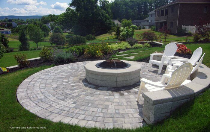 Backyard Retaining Wall with Fire Pit