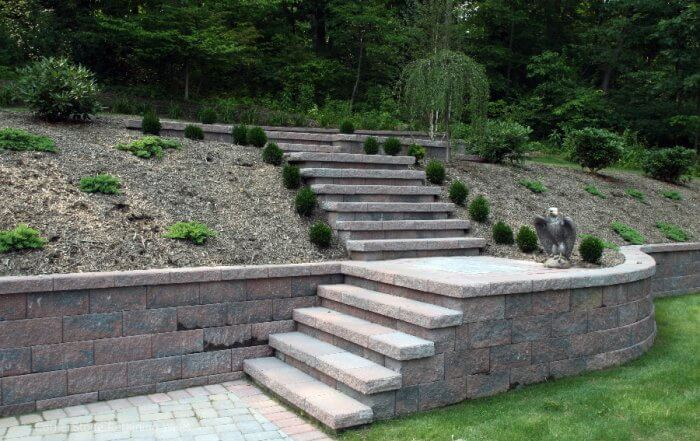 Backyard Retaining Wall with Multi-Level Stairs