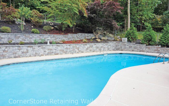 Backyard Retaining Walls with Pool and Terraces