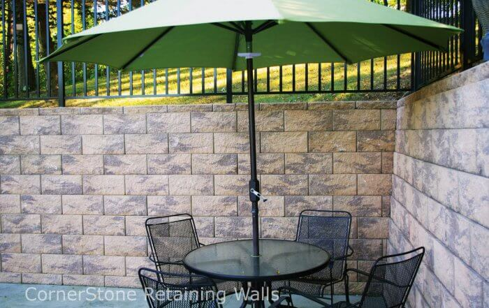 Backyard Retaining Walls with Umbrella