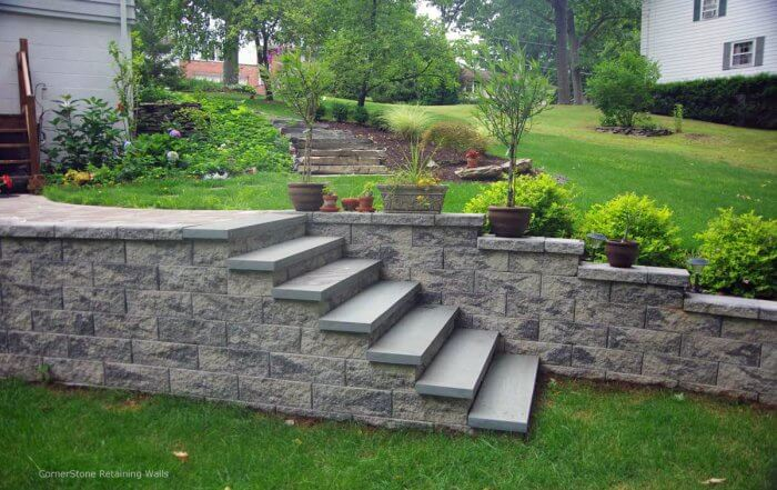 Landscape Retaining Walls & Stairs for Backyard