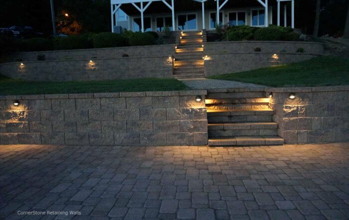Stairs & Terraces for Backyard Retaining Wall