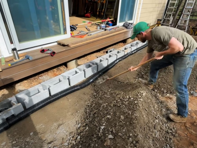 CornerStone retaining wall drainage and backfilling by Crafted Workshop