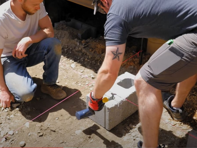 CornerStone retaining wall measuring base course by Crafted Workshop