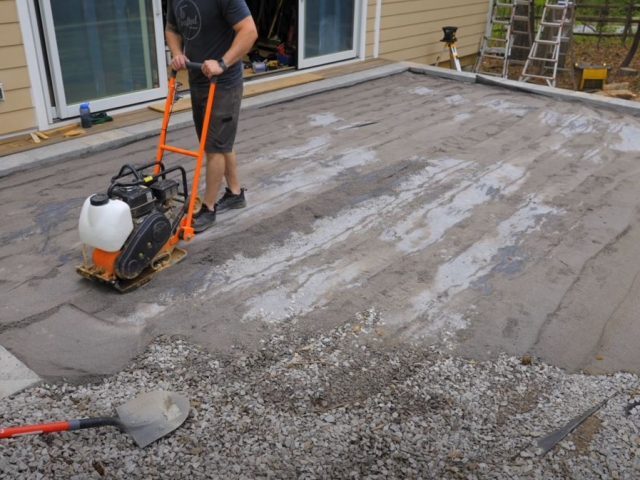 CornerStone retaining wall paver patio compaction by Crafted Workshop