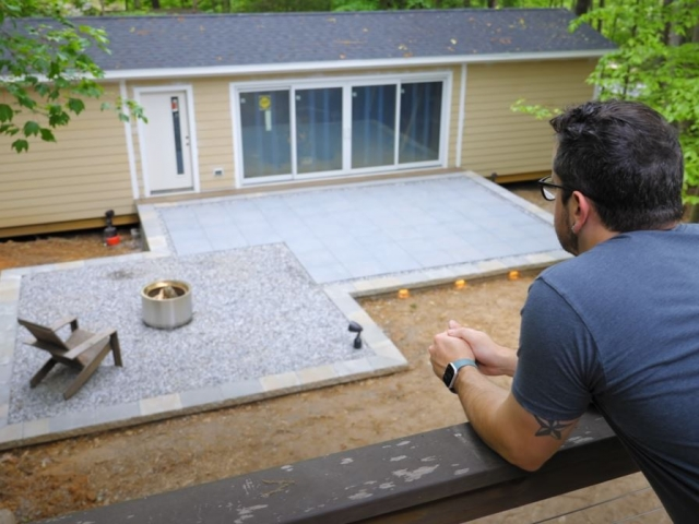 CornerStone retaining wall raised patio installation completed by Crafted Workshop