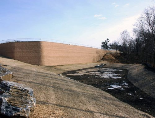Tall CornerStone Retaining Wall Helps Develop Commercial Infrastructure