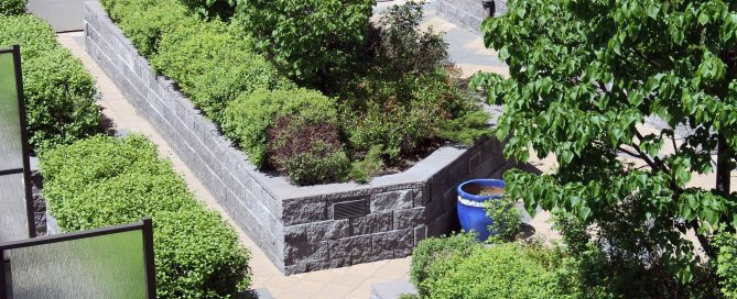 Apartment Rooftop Patio with CornerStone Retaining Walls