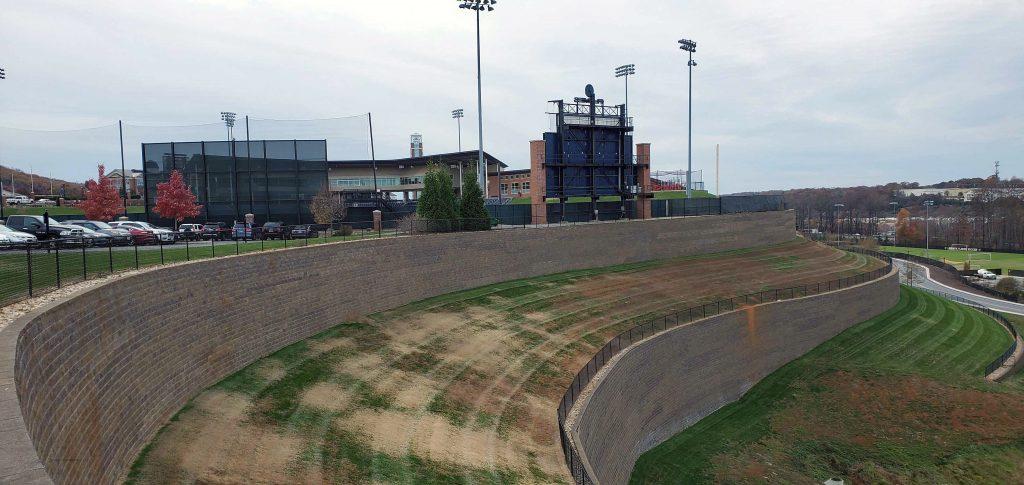 Liberty University Baseball Field with CornerStone Tall Retaining Wall