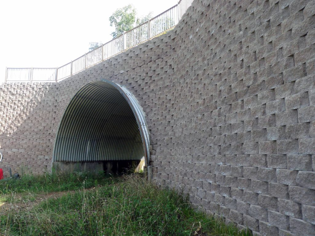 CornerStone Retaining Wall Over Drainage Channel in North Carolina
