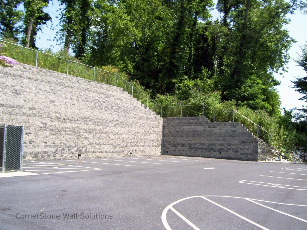 Retaining Wall with Step-Ups in Harrisburg, Pennsylvania