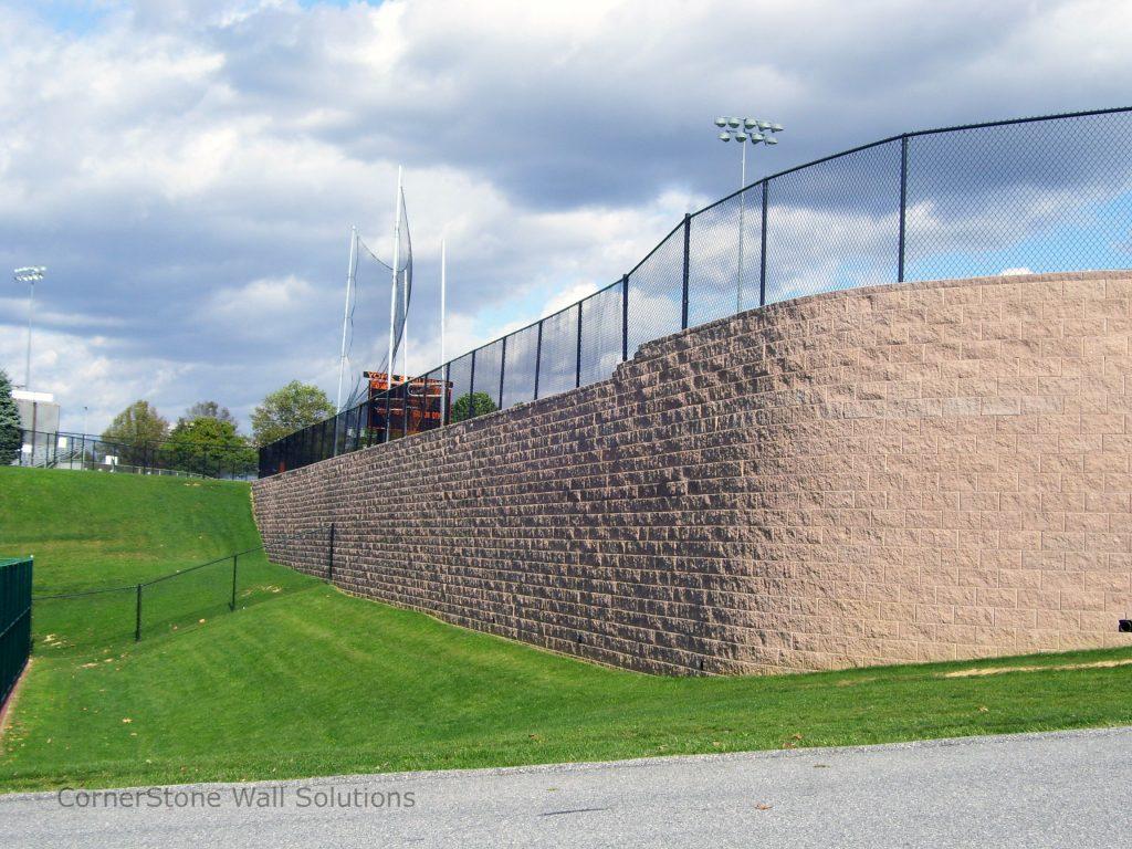 Tall Ball Field Retaining Wall in York, Pennsylvania