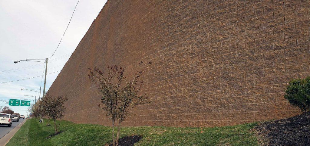 Tall, Curved Retaining Wall in Lynchburg, Virginia