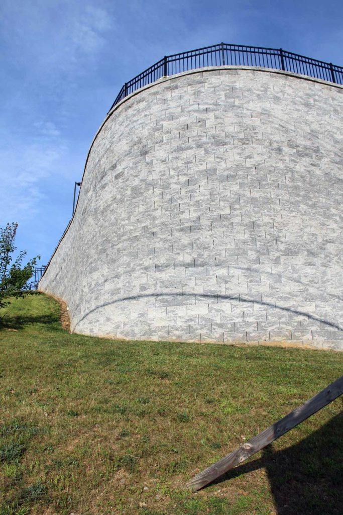 Tall Curved Retaining Wall in Pennsylvania