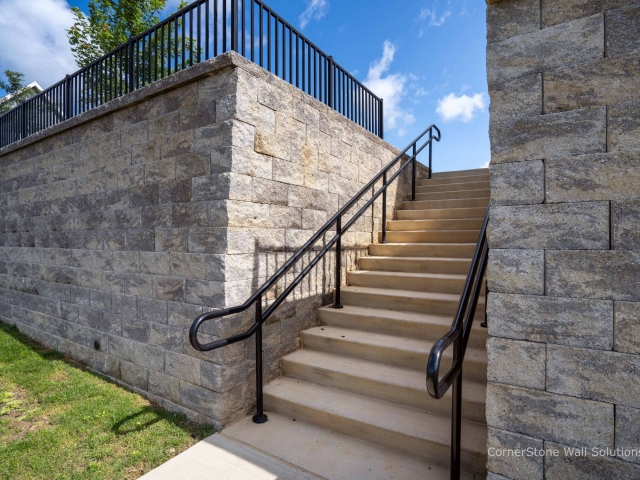 Built-In Stairs to CornerStone Retaining Wall Penn State
