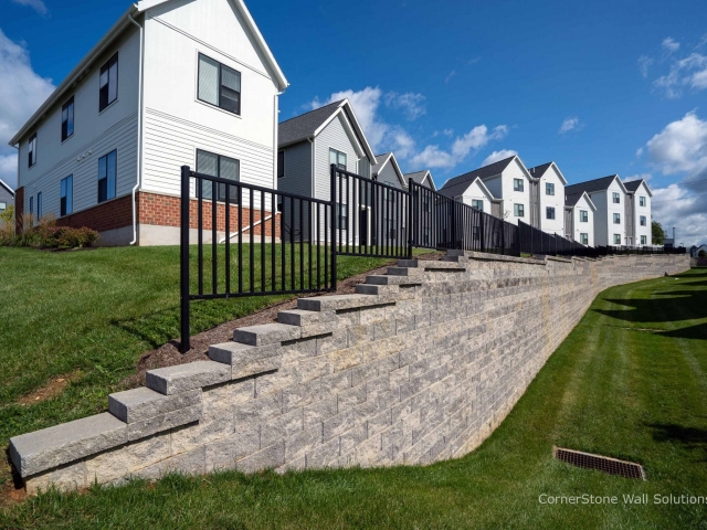 CornerStone Retaining Wall Tall and Long at Penn State