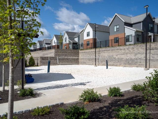 CornerStone Retaining Walls Surround Beach Volleyball court