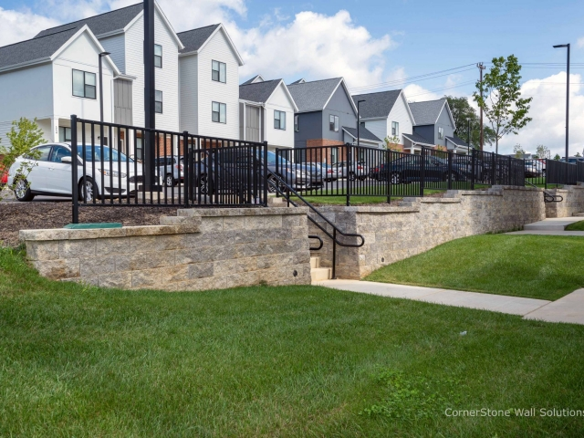 CornerStone Retaining Walls with Stairways Built In for Access