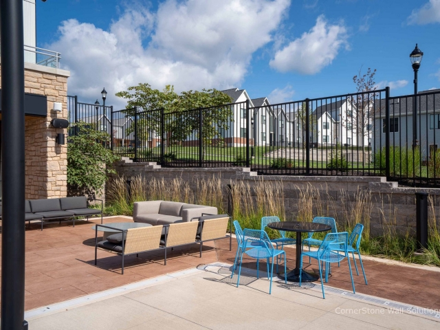 Poolside CornerStone Retaining Wall at Penn State