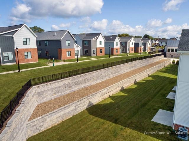 Terraced CornerStone Retaining Wall Separates Yards