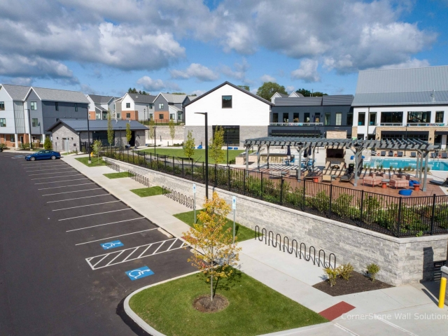 The Yards Clubhouse with CornerStone Retaining Wall
